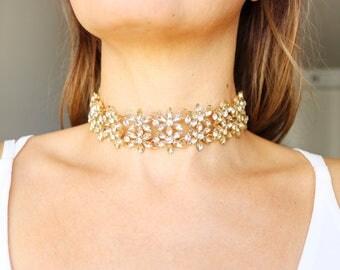 Choker, gold choker, crystal choker, rhinestone choker, fancy choker, bridal jewelry, gold necklace, gold jewelry, flower choker, floral