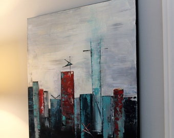 contemporary abstract art with a mid-century twist - skyline original painting