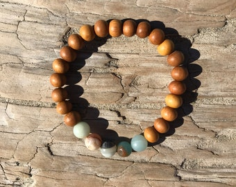 Mala Bracelet, Wrist Mala, Amazonite Bracelet, Sandalwood Bracelet, 8mm Wrist Mala, Japa Mala, Meditation Jewelry, Yoga Bracelet