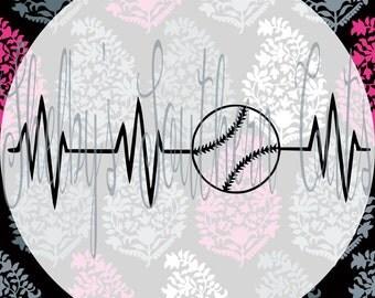 Heartbeat - Baseball - SVG, EPS, DXF, png, pdf
