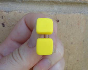 Yellow square stud earrings, yellow earrings, yellow studs, square earrings, polymer clay jewellery, polymer clay stud earrings, FREE ship