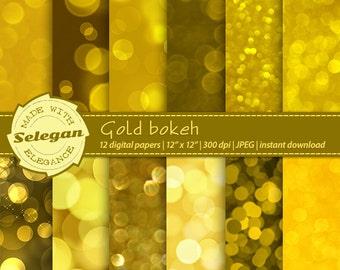 """Bokeh digital paper """" Gold Bokeh """" bokeh backgrounds, bokeh backdrop, gold digital paper, gold glitter,  bokeh scrapbooking, printables"""