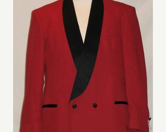 On Sale Red Tuxedo Double Breasted Dinner Jacket Black Satin Lapels 1980s Tux Adult Men's 40 R