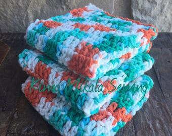 Crocheted Dishcloths - Coral and Aqua - 100% Cotton - Set of Three