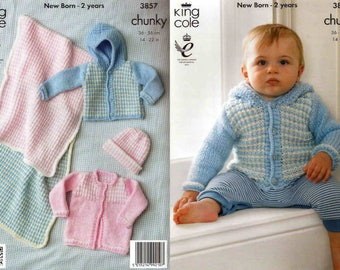 "King Cole Knitting Pattern 3857~Jackets, Hat & Blanket~Chunky~14-22"""
