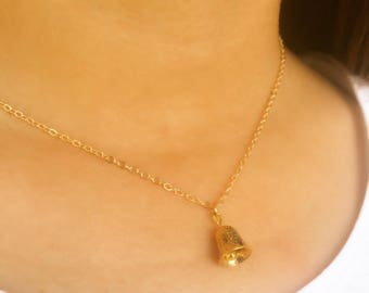 Bell Necklace / Antique Gold Bell / 14k Gild Filled Chain / Gift for Girls / Mom Gift