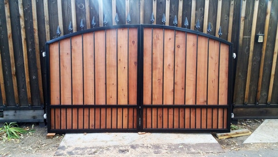 Dual Wrought Iron And Wood Driveway Gate Free Shipping