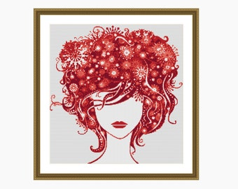 Cross Stitch Pattern, Modern Cross Stitch, RED LADY cross stitch chart - Instant download PDF