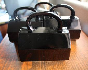 Set of 4 Arcoroc France Black Octagon Mugs