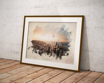 Chicago Abstract Watercolor Poster