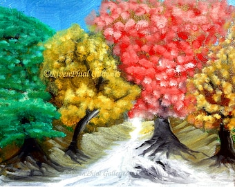 "Wall Art Giclee Print of Original Oil Painting ""Cherry Blossom Creek"" from the ""Beginnings"" Series by Darrin Germany"