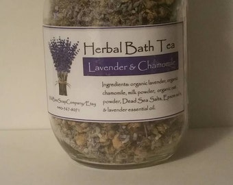 Lavender and Chamomile Herbal Bath Tea, Bath Tea, Bath Salts, Lavender Bath Salts, Chamomile Bath Salts, Vegan Bath Tea