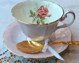 Vintage Paragon English Bone China Teacup, Pink Cup And Saucer With Single Rose, Replacement China, Gifts For Her