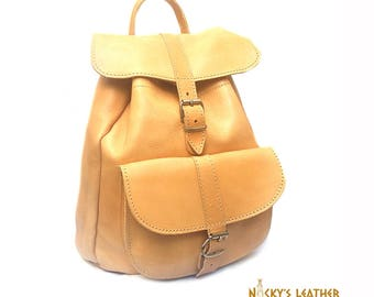 LEATHER BACKPACK - Leather Rucksack - College Backpack - LARGE Size - Light Brown Color
