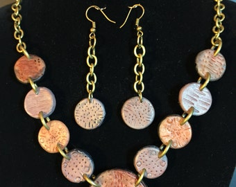 Brown polymer clay neckace and earrings