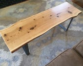 Live Edge Coffee Table / Modern Rustic Entryway Bench / Industrial Steel Square Legs / Minimalist Midcentury Modern / Red Oak