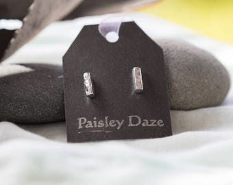 Sterling Silver Studs - Silver Bars - Hammered Silver - Silver Earrings - Bar Studs - Paisley Daze Designs