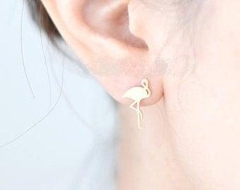 Boucles d'oreilles Flamant rose | doré et argenté | Bijou mignon minimaliste | Tendance 2017 | Cadeau mignon pour elle | Idée anniversaire