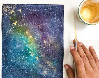 Galaxy Print. Celestial Watercolor Art Print. Blue Sky Gold Universe. Watercolor Painting Universe. Star on the sky. Make a Wish. Space Art.