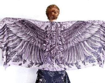 Geometric Scarf, Angel Wings Scarf, White Scarf, Bridal Scarf, Beach Wedding Gift, Bridesmaid Scarf, Boho Bridesmaid Gift, Festival Wrap