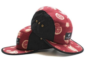 Manna ACID 5 Panel Cap - Leather Strap Streetwear Snapback Stone Roses Style - Maroon Red Supreme Skate Stussy Huf Style Lemon Print Logo