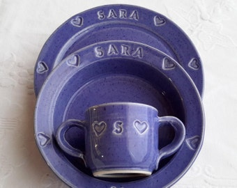 made to order, personalized child set, baby set, pottery child set, christening gift, baby christening gift, childrens monogramed dish set