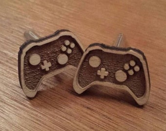 Video game controller cufflinks, wooden ideal for chrismas, birthday and father's day gifts