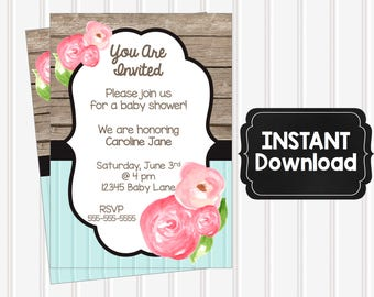 50% OFF SALE - Editable Floral Card - Invitation - Small Business - Baby Shower - Bridal - Wedding - Shabby - Rustic - Instant Download