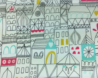 Fabric Remnant - 100% Certified Organic Cotton - City Pattern