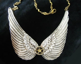 Necklace steampunk silver Angel Wings, angel wings necklace A485