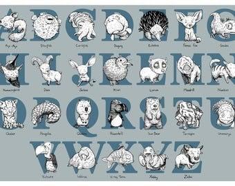 Animal Alphabet Illustration Print