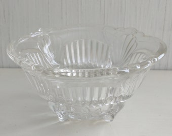 Vintage Glass Bowl - Vintage Clear Glass Bowl - Vintage Footed Floral Bowl - clear glass - vintage - flower - glass bowl-footed bowl - glass