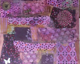 20x24 Purple patchwork partern on canvas mixed media