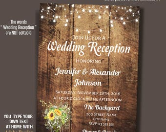Sunflower mason jar Wedding Reception Invitation, Rustic wedding, Instant Download Self Editable PDF file A226