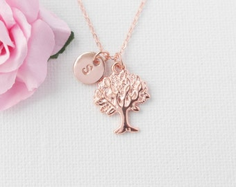 Rose gold Tree Necklace, Personalized Tree of life Necklace, Initial Necklace, rose gold Tree Pendant, Tree Jewelry, rose gold necklace.