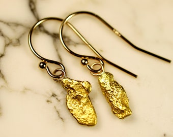 Natural Gold Nugget Jewelry - Dangle Drop Earrings - Real California Gold and 14k hooks