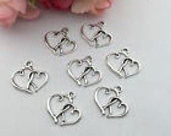 Silver Charms Open Double Heart x15