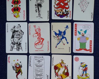 Collection of Twelve (12) Vintage Playing Cards/Swap Cards all JOKERS/CLOWNS/JESTERS [Lot X] - All different!
