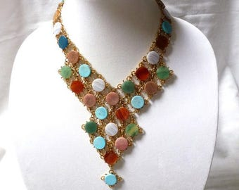 Swoboda authentic GEMSTONE Egyptian revival style BIB NECKLACE