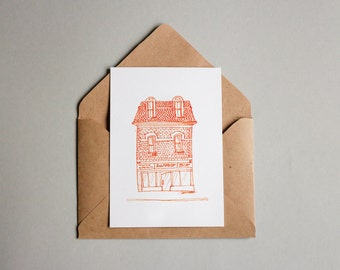 Building printable instant download postcard,mini poster,handdraw card,orange ink drawing postcard, city building card,homecard,architecture
