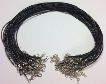 "17"" x 2mm Black Waxed Cord Necklaces With Lobster Clasp - For Jewellery Making"