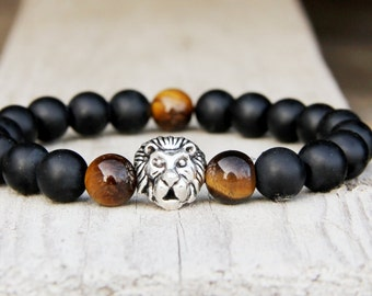 birthday Jewelry Guys gift Guys Bracelet Tiger eye Jewelry onyx Jewelry lion Jewelry stone Jewelry onyx Bracelet leo Jewelry leo Bracelet