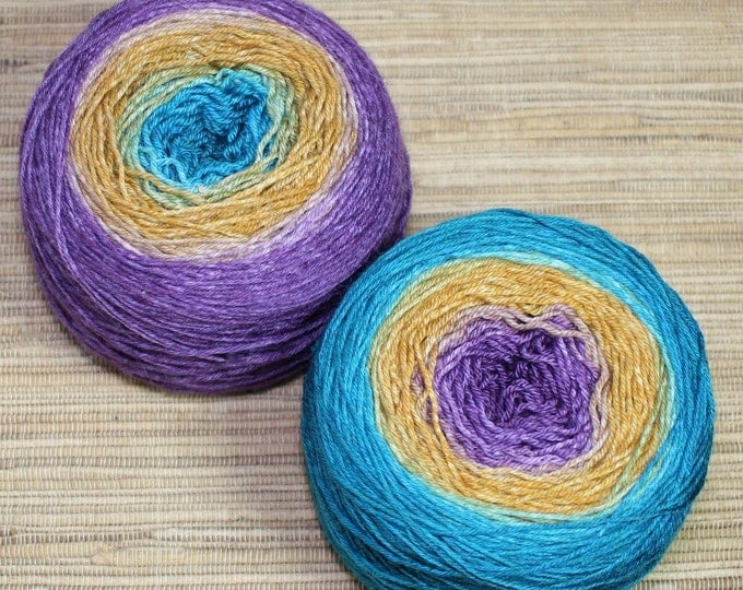 Featured listing image: Hand dyed yarn - Ombre - 100g superwash merino/nylon, sock weight (4 ply) in 'Landscape'.
