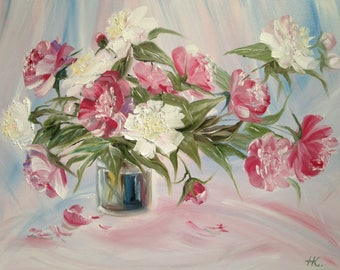 "Painting ""Peonies""  Original Still Life Art oil painting on Canvas, Size: 20""x 16"" (51 x 41 cm)"