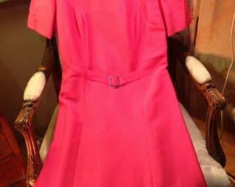 60's silk mix A line dress with front belt detail. 38x32x40x40 length