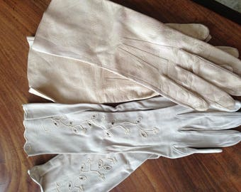 1 pair embroidered 50's suede gloves medium and 1 pair pinky beige leather 50's medium gloves