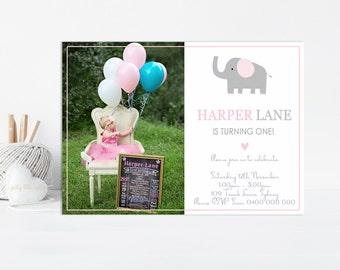 Elephant Birthday Invitation,  Pink Elephant Birthday Invitation, Elephant 1st Birthday Invitation, Printable Invitation, Girls Birthday