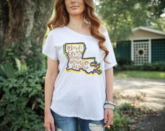 Mardi Gras Mambo Louisiana Bead Womens Tshirt