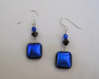 Royal Blue Dichroic Glass Earrings - g0820e01