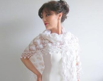 Crochet shawl, bridal wrap, white shawl, wedding wrap, lace shawl, winter wedding, bridal cover up, fast shipping, ready to ship